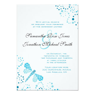 Blue & White Dragonfly Pointillism Custom Wedding Card
