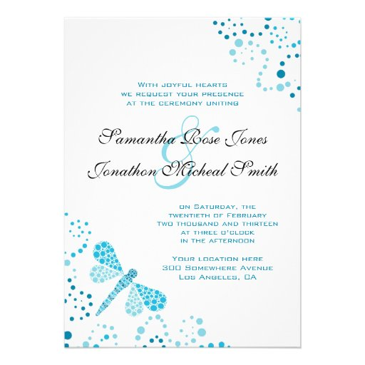 Blue & White Dragonfly Pointillism Custom Wedding Personalized Invite
