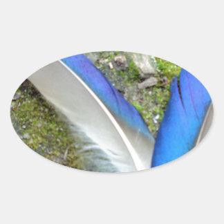 Blue White Duck Feathers, Animal, Bird Oval Sticker