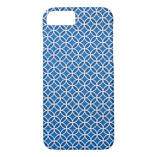 Blue White Elegant Abstract Circles Pattern iPhone 8/7 Case