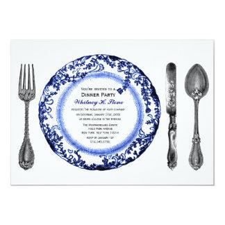 Blue White Fine Dining Dinner Party 13 Cm X 18 Cm Invitation Card