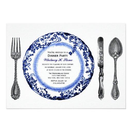 Blue White Fine Dining Dinner Party Invitation