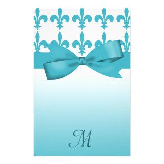 Blue & White Fleur De Lis Wedding Stationery Paper