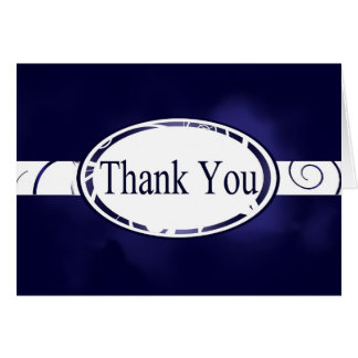Blue & White Floral Button Thank You Card