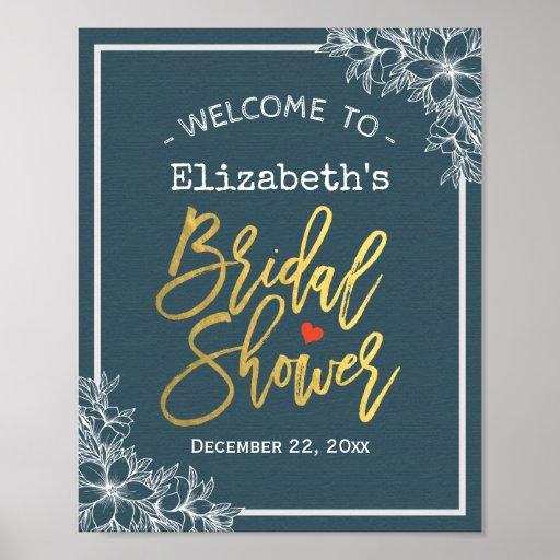 Blue White Floral & Gold Script Bridal Shower