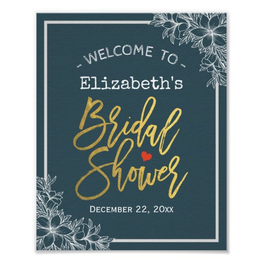 Blue White Floral & Gold Script Bridal Shower