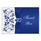 Blue, White Floral, Hearts Wedding Thank You Card