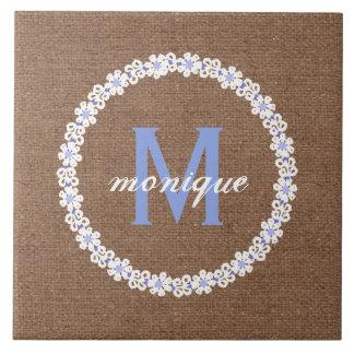 Blue & White Flower Burlap Monogram - Shabby Chic Large Square Tile