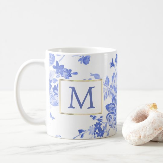 blue white flower china initial customisable side coffee