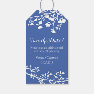 Blue White Flower Wedding Save The Date Tags