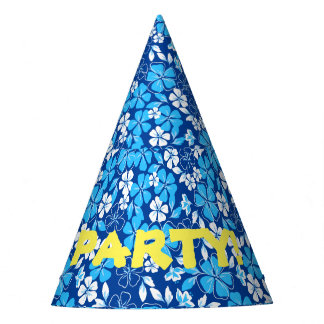 Blue & white flowers party hat