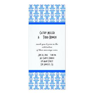 Blue White Folk Pattern Wedding 10 Cm X 24 Cm Invitation Card