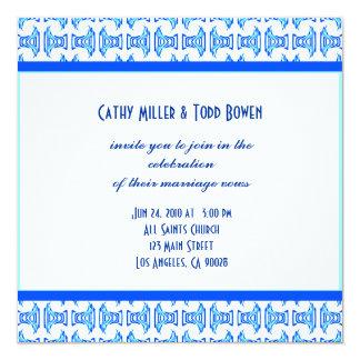 Blue White Folk Pattern Wedding 13 Cm X 13 Cm Square Invitation Card
