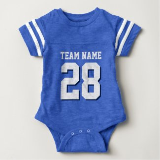 Cute baby clothing personalised baby clothing baby gifts blue white football jersey sports baby romper negle Image collections