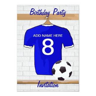 Blue White Football Soccer Jersey Birthday Party 13 Cm X 18 Cm Invitation Card