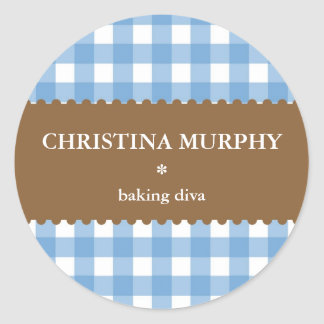blue white gingham homemade food label seal