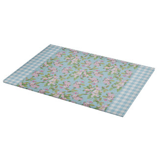 Blue White Gingham, Pink Apple Blossom on Blue Cutting Board