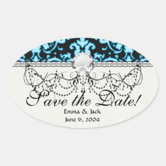 blue white glow on black damask pattern oval sticker