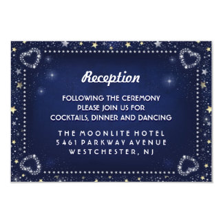 Blue White Gold 3.5 x 5 Hearts & Stars Reception Card