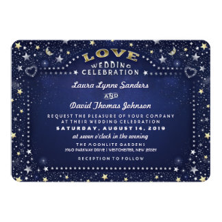 Blue White Gold Moon Stars RECEPTION INFO on Back 13 Cm X 18 Cm Invitation Card