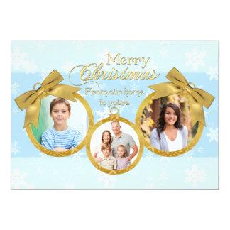 "Blue White Gold Ornaments Christmas Photo Card 5"" X 7"" Invitation Card"