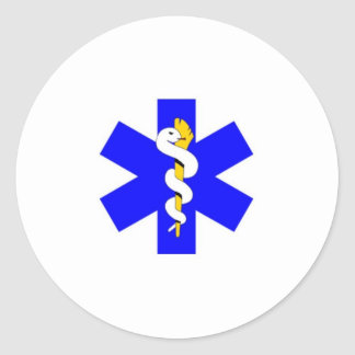 blue, white, & gold round sticker