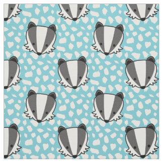 Blue White Gray - Badger Pattern Fabric
