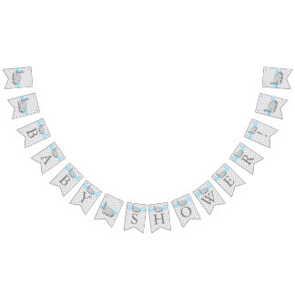 Blue, White Gray Elephant Baby Shower Bunting
