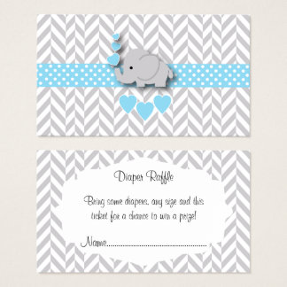 Blue White Gray Elephant Baby Shower Diaper Raffle Business Card