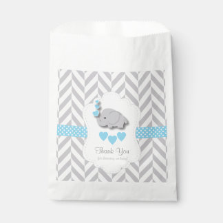 Blue, White Gray Elephant Baby Shower Thank You Favour Bags