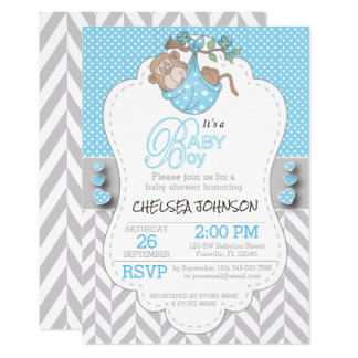 Blue, White Gray Monkey Baby Shower Card