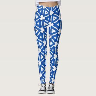 Blue White Greek Mediterranean Tile Triangles Chic Leggings