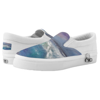 Blue White Green Sunset Wave Slip on Sneakers