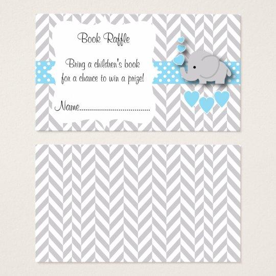 Blue, White Grey Elephant Baby Shower Book Raffle
