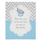 Blue, White Grey Elephant Baby Shower Poster