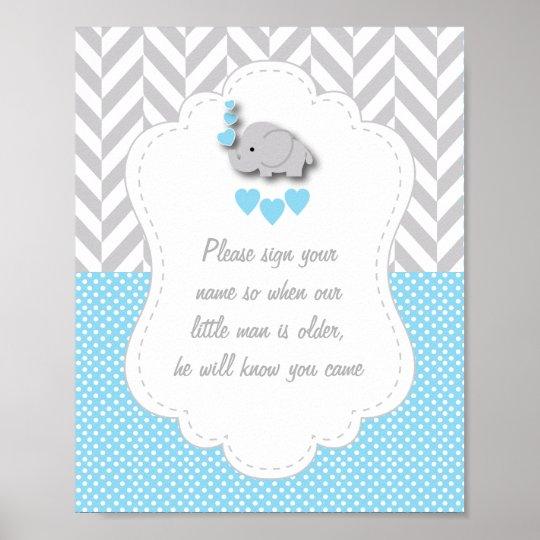 Blue, White Grey Elephant Baby Shower Poster 2