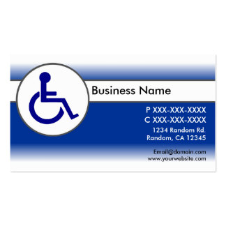 Blue white handicapped symbol business cards