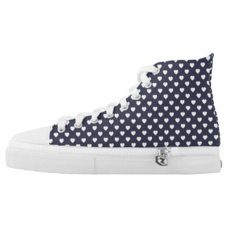 Blue White Heart Polka Dot Pattern High Top Shoes Printed Shoes