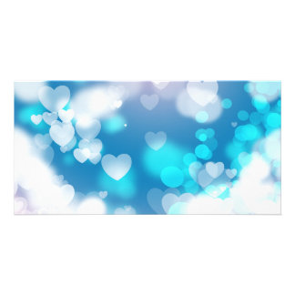 BLUE WHITE HEARTS LAYERS BOKEH DIGITAL WALLPAPER PICTURE CARD