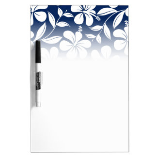 Blue & white hibiscus dry erase board