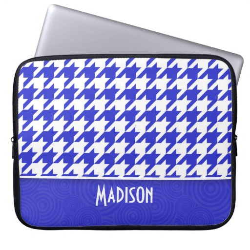 Blue & White Houndstooth; Cute Computer Sleeves