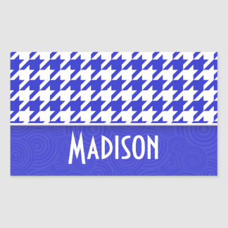 Blue White Houndstooth Cute Rectangle Stickers