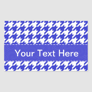 Blue White Houndstooth Pattern Rectangle Stickers
