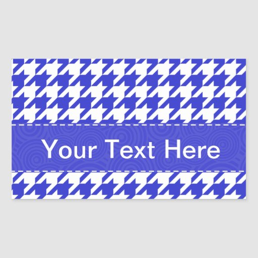Blue & White Houndstooth Pattern Rectangle Stickers