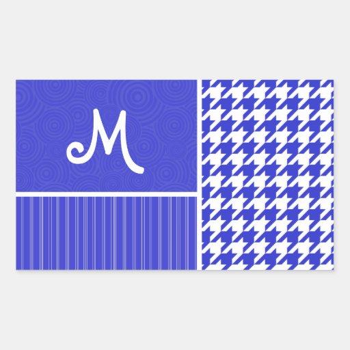 Blue & White Houndstooth Rectangular Sticker