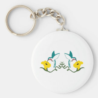 Blue & White Hummingbirds Basic Round Button Key Ring