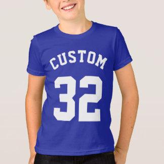 Blue & White Kids   Sports Jersey Design T-Shirt