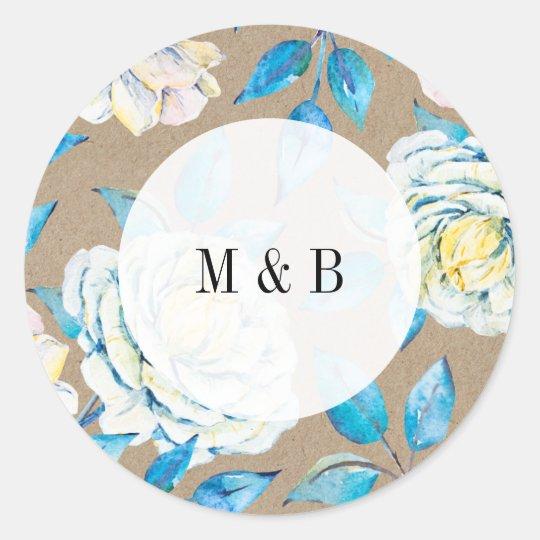 Blue & White Kraft Rose Wedding Invitation Sticker