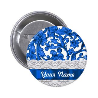 Blue & white lace 6 cm round badge