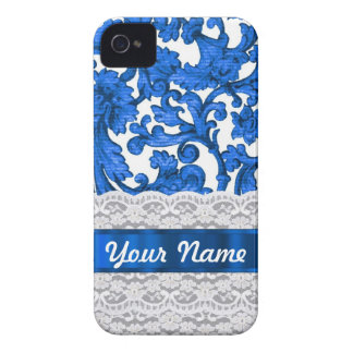 Blue & white lace iPhone 4 case
